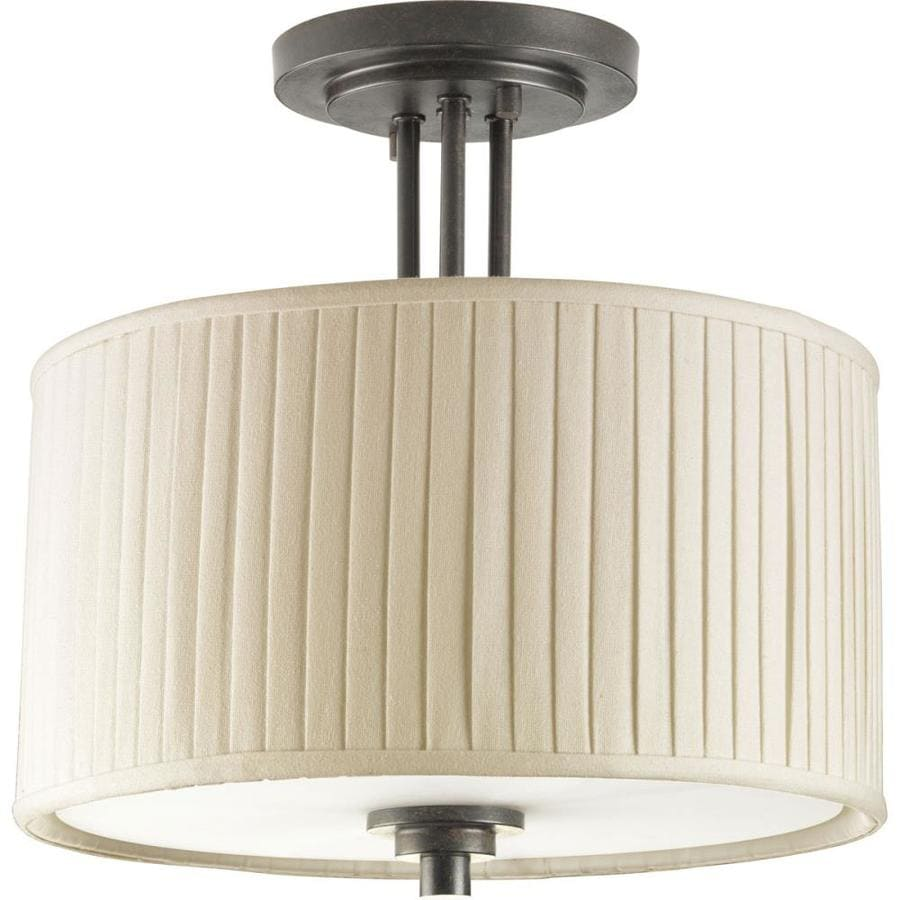 Progress Lighting Clayton 13-in W Espresso Fabric Semi-Flush Mount Light
