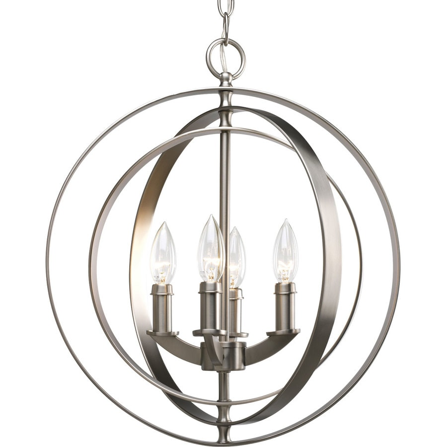 Progress Lighting Equinox 16-in 4-Light Burnished Silver Globe Chandelier