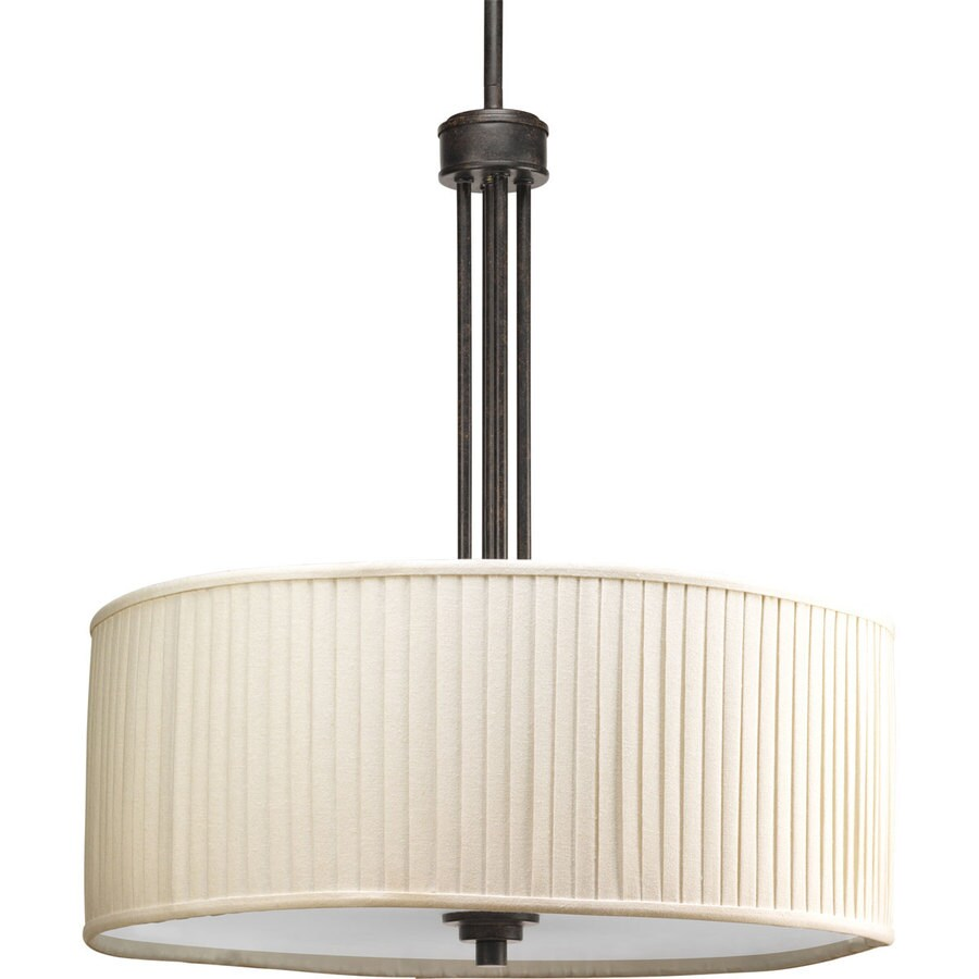 Progress Lighting Clayton 20-in 3-Light Espresso Shaded Chandelier