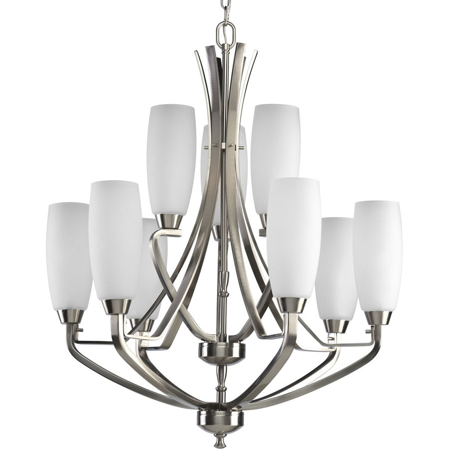 Shop Progress Lighting Wisten 27 In 9 Light Brushed Nickel Etched Glass Tiere