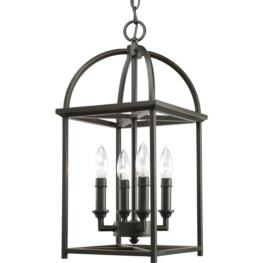 Progress Lighting Piedmont 9.4375-in 4-Light Antique Bronze Shaded Chandelier