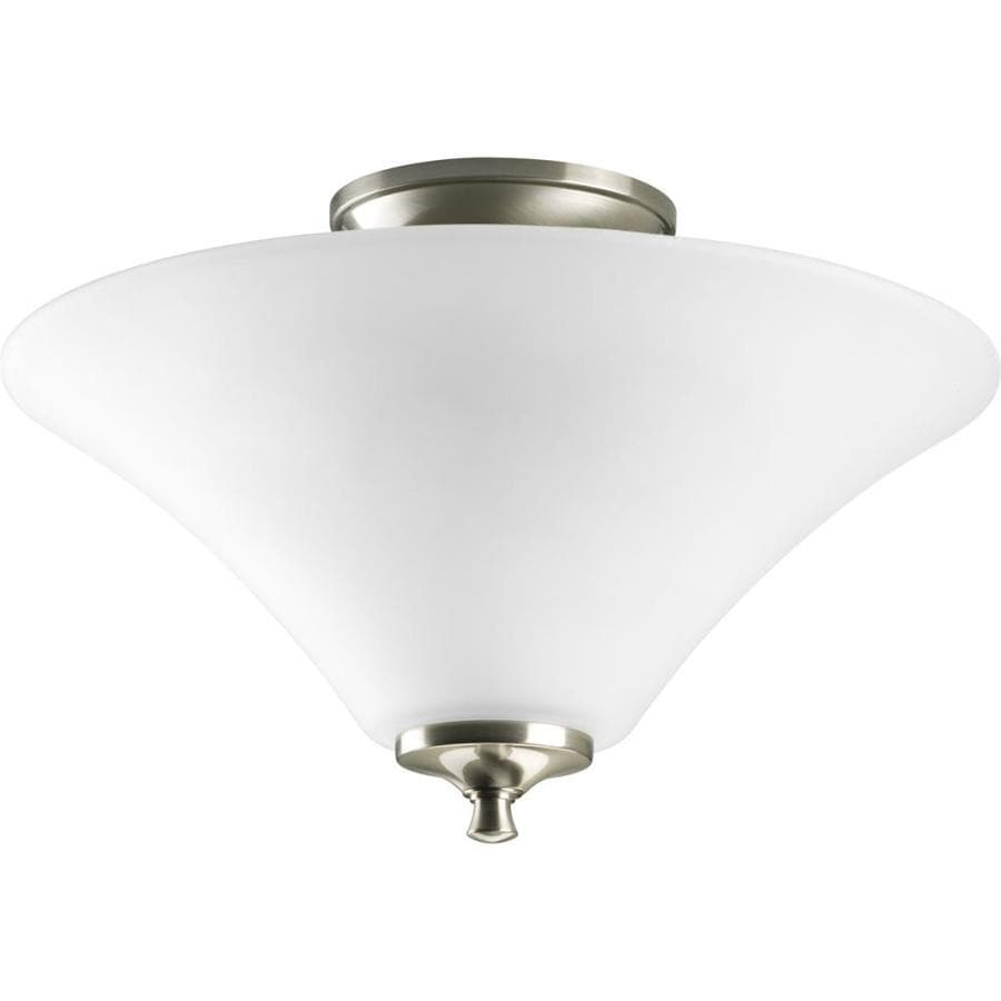 Progress Lighting Janos 13.37-in W Brushed Nickel Frosted Glass Semi-Flush Mount Light