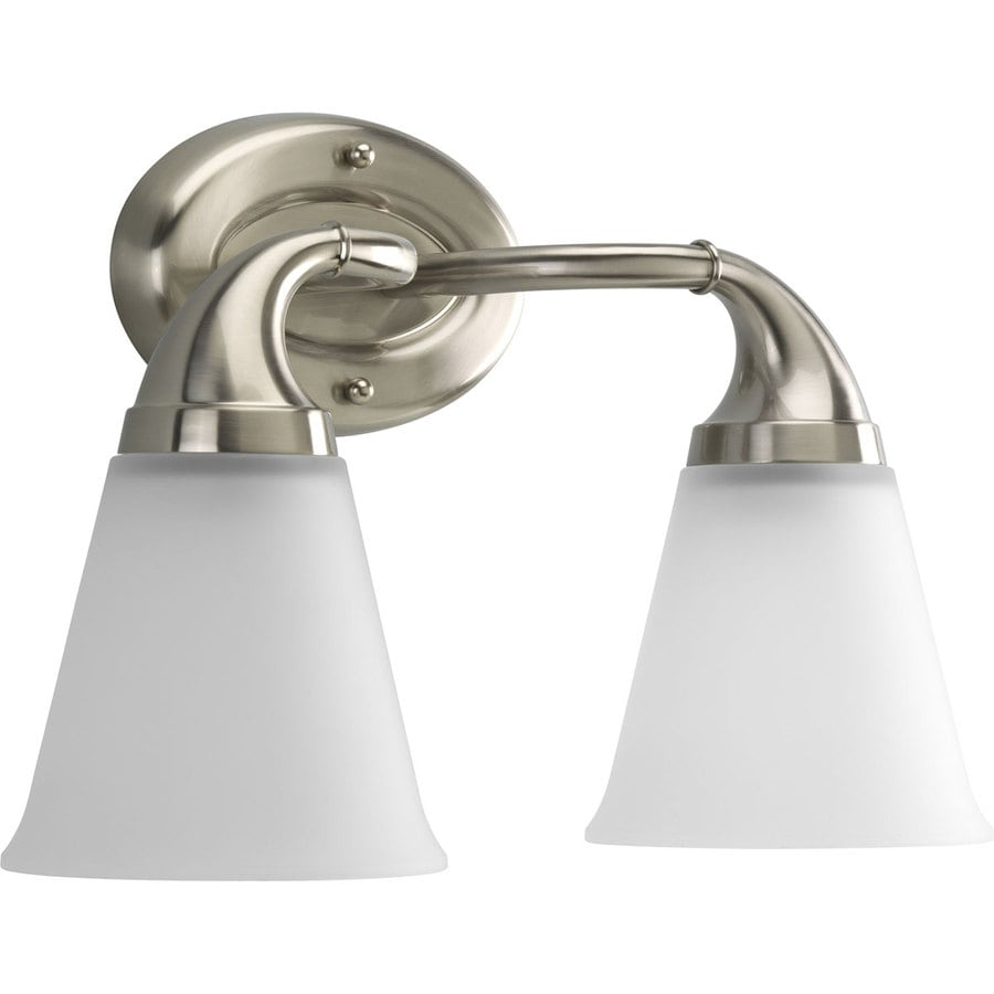 Polished Nickel Bathroom Vanity Light: Shop Progress Lighting 2-Light Lahara Brushed Nickel