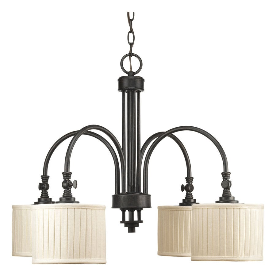 Progress Lighting Clayton 28.375-in 4-Light Espresso Shaded Chandelier