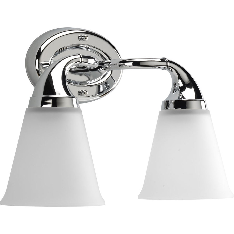 2 light bathroom fixture shop progress lighting lahara 2 light 15 625 in chrome 15265