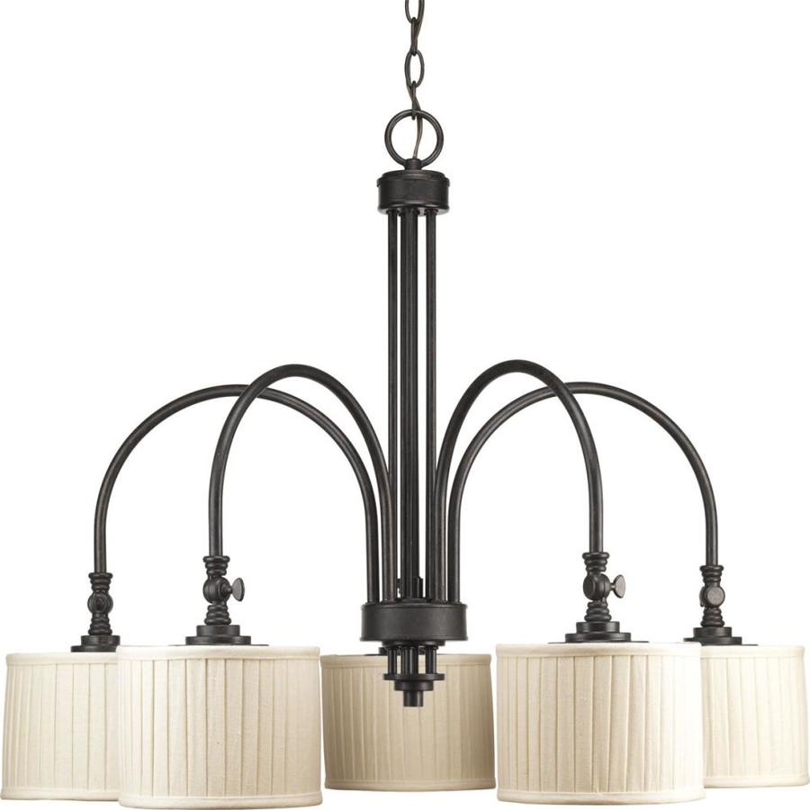 Progress Lighting Clayton 32-in 5-Light Espresso Shaded Chandelier