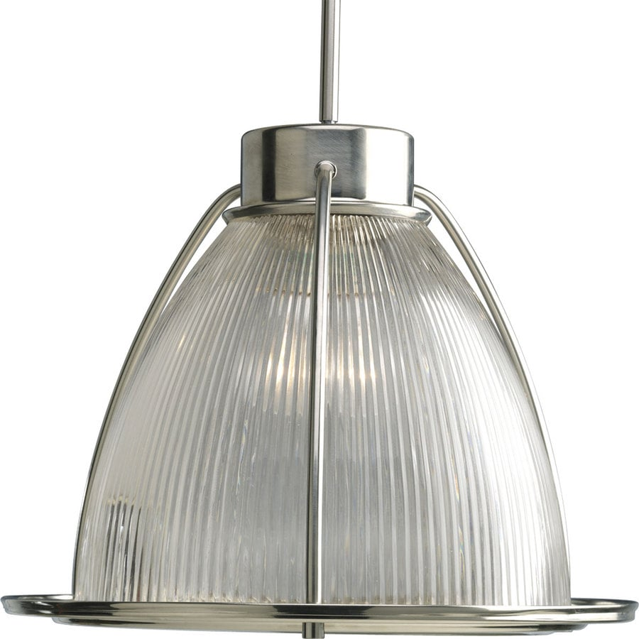 Progress Lighting Prismatic Glass 16-in Brushed Nickel Single Clear Glass Bell Pendant