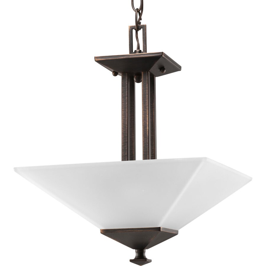 Progress Lighting North Park 12.75-in W Venetian Bronze Frosted Glass Semi-Flush Mount Light