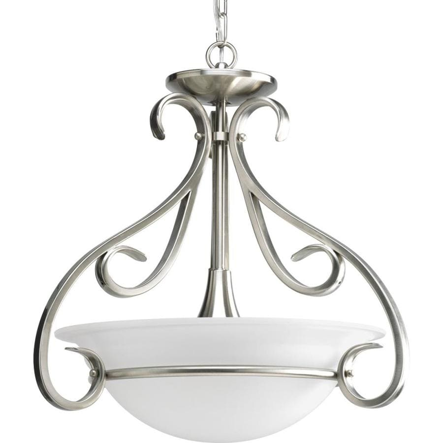 Progress Lighting Torino 18-in W Brushed Nickel Frosted Glass Semi-Flush Mount Light
