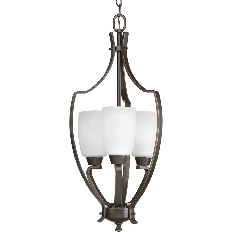 Progress Lighting Wisten 12-in 3-Light Antique Bronze Etched Glass Shaded Chandelier