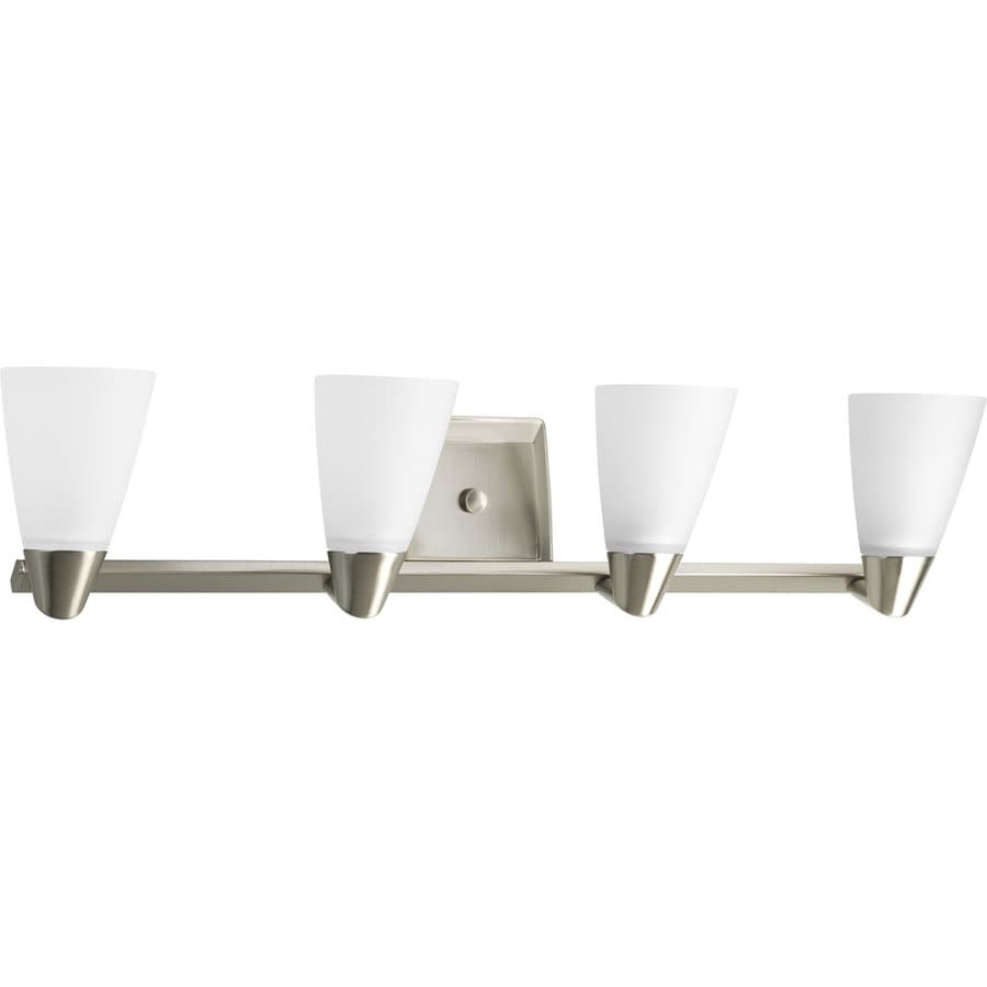 4 light bathroom light shop progress lighting rizu 4 light 31 5 in brushed nickel 15309