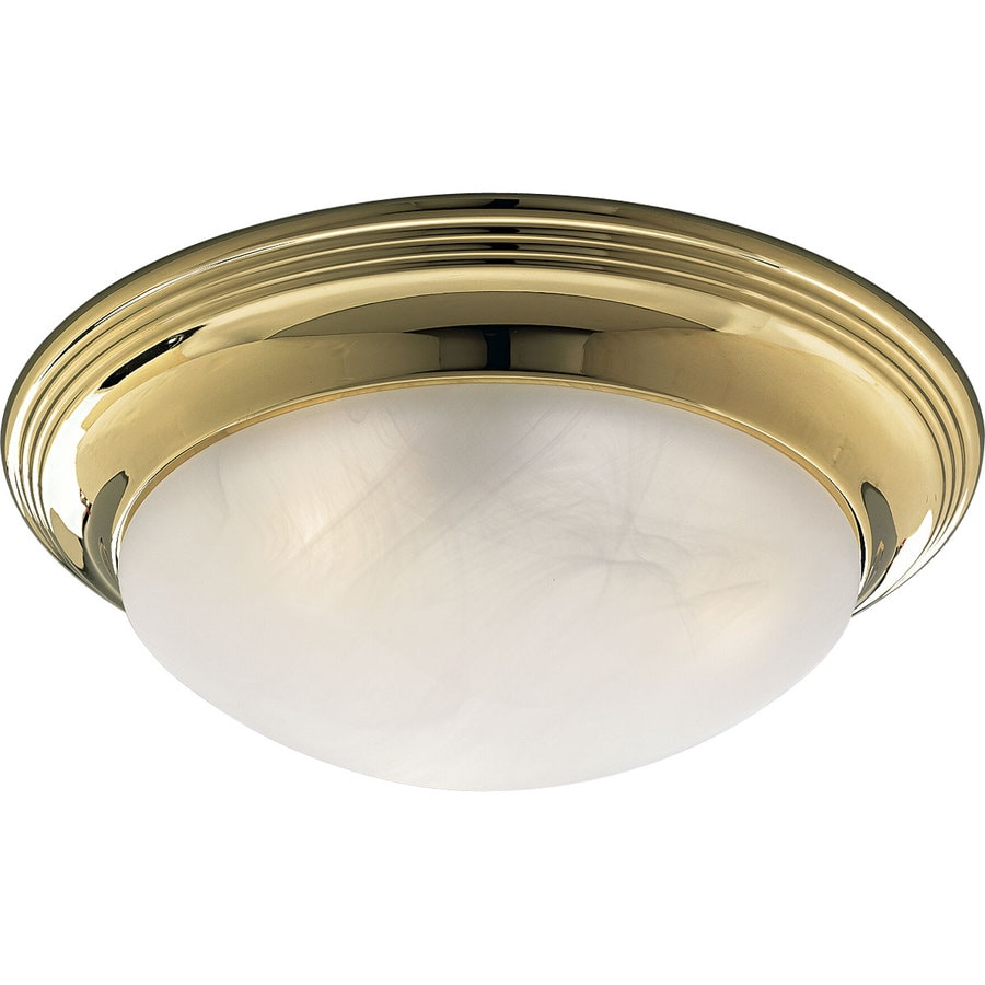 Progress Lighting Melon 16.75-in W Polished Brass Standard Flush Mount Light