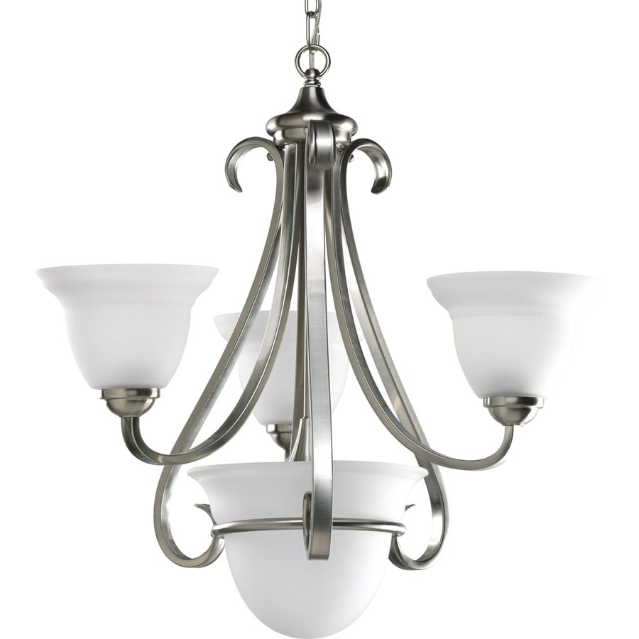Progress Lighting Torino 24-in 3-Light Brushed Nickel Etched Glass Shaded Chandelier