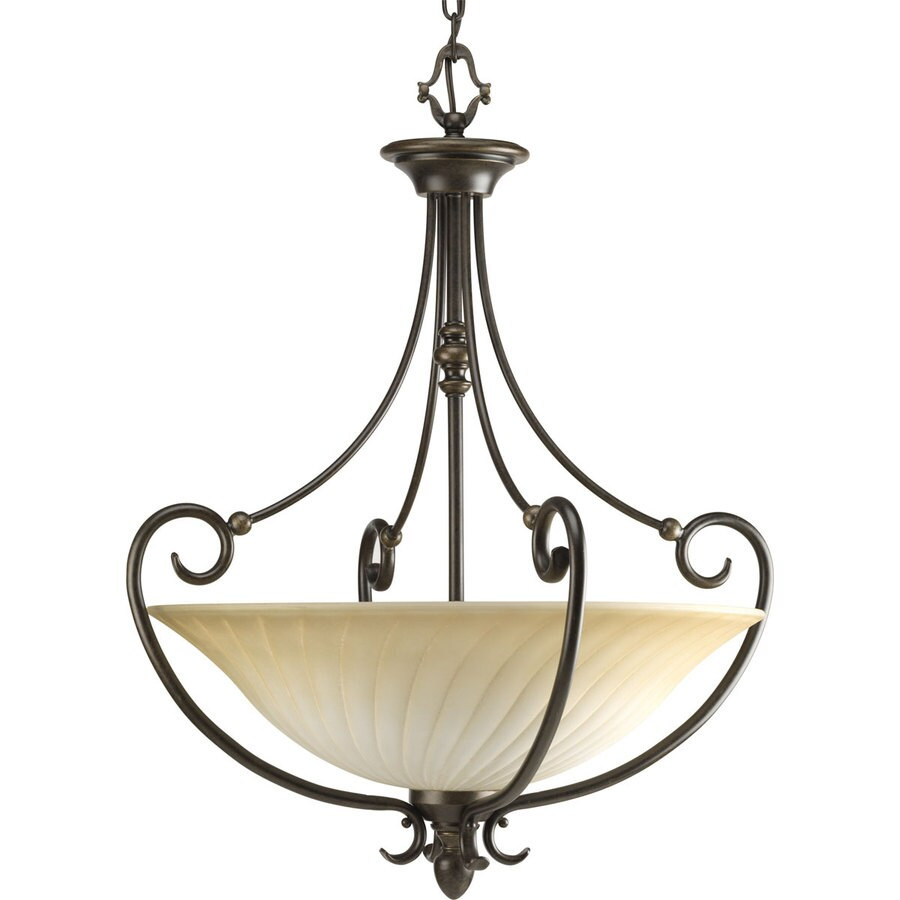 Progress Lighting Kensington 21.875-in 3-Light Forged Bronze Tinted Glass Shaded Chandelier