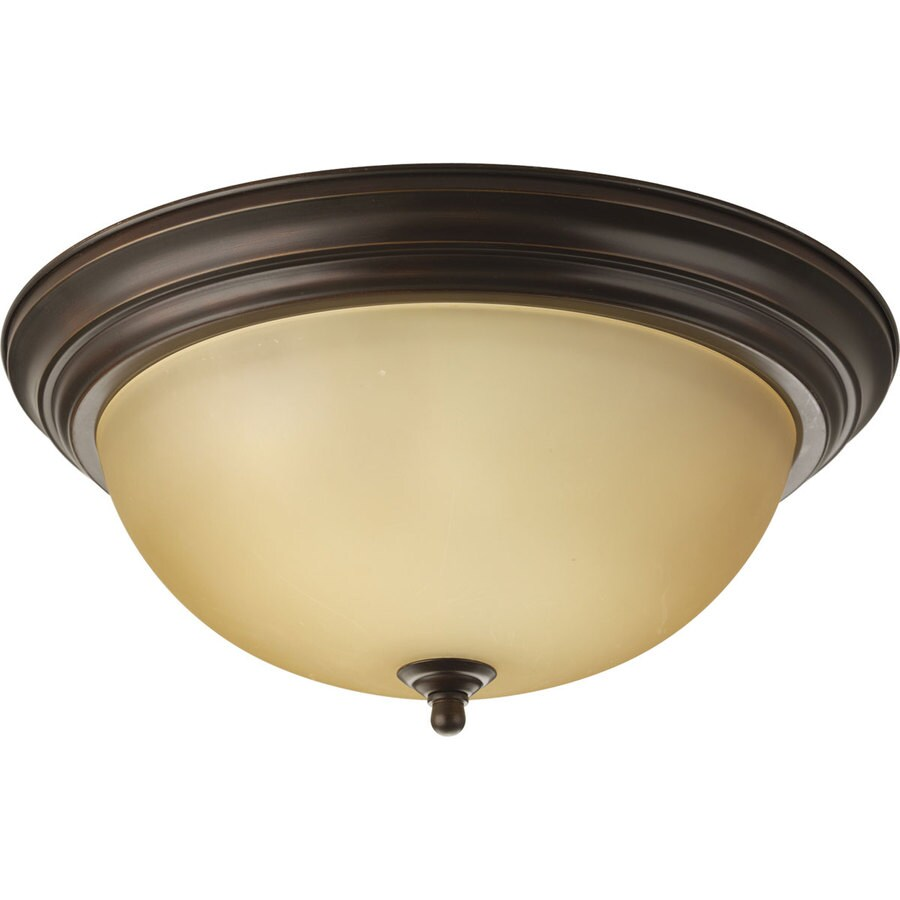 Progress Lighting Melon 15.25-in W Antique Bronze Flush Mount Light