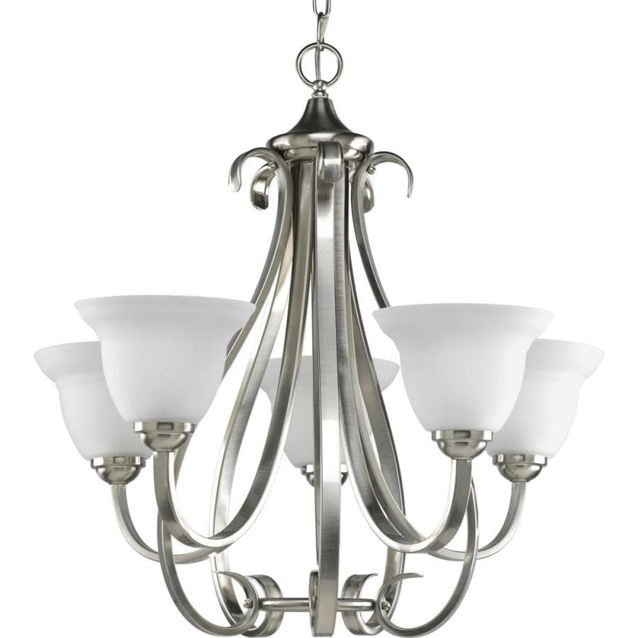 Progress Lighting Torino 26.125-in 5-Light Brushed Nickel Etched Glass Shaded Chandelier