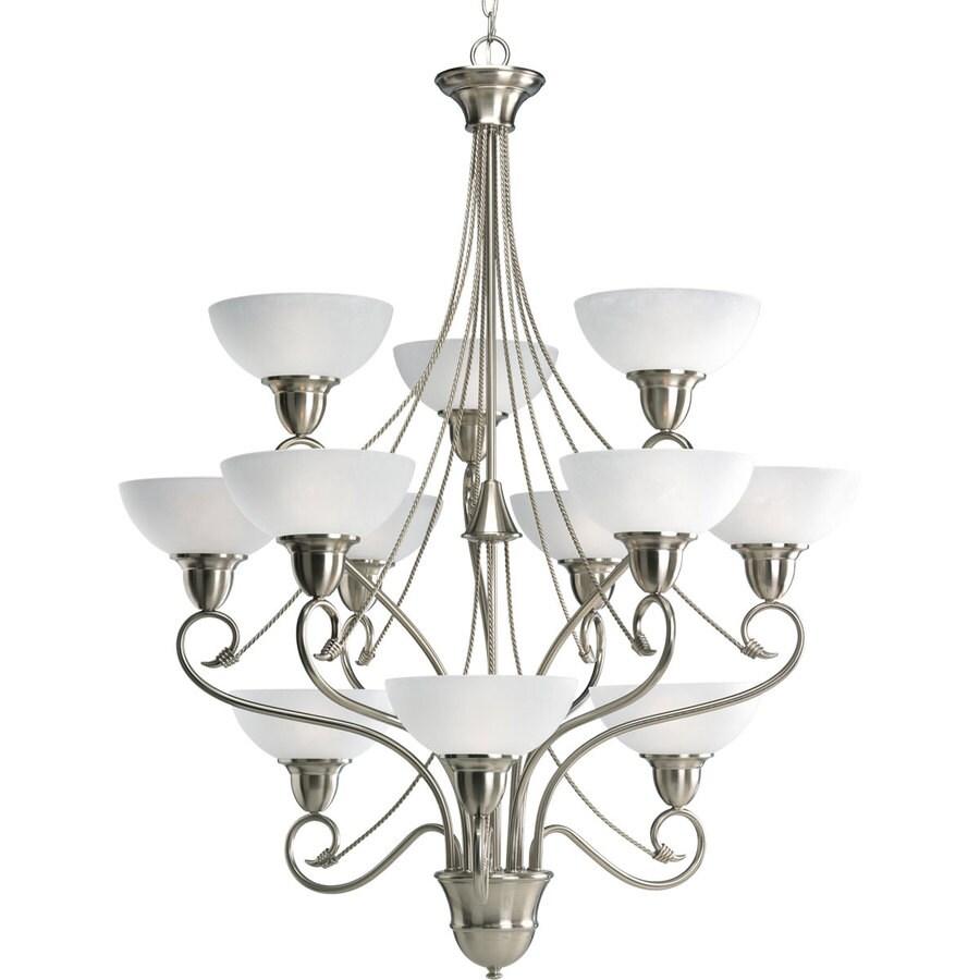 Progress Lighting Pavilion 34.75-in 12-Light Brushed Nickel Etched Glass Tiered Chandelier