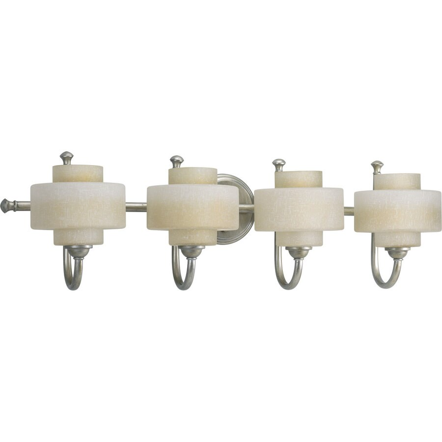 Progress Lighting Ashbury 4-Light 9-in Silver ridge Drum Vanity Light