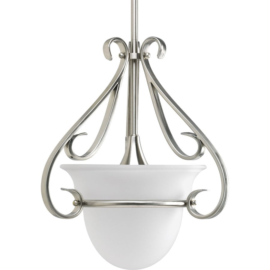 Progress Lighting Torino 13.125-in Brushed Nickel Mini Etched Glass Cylinder Pendant