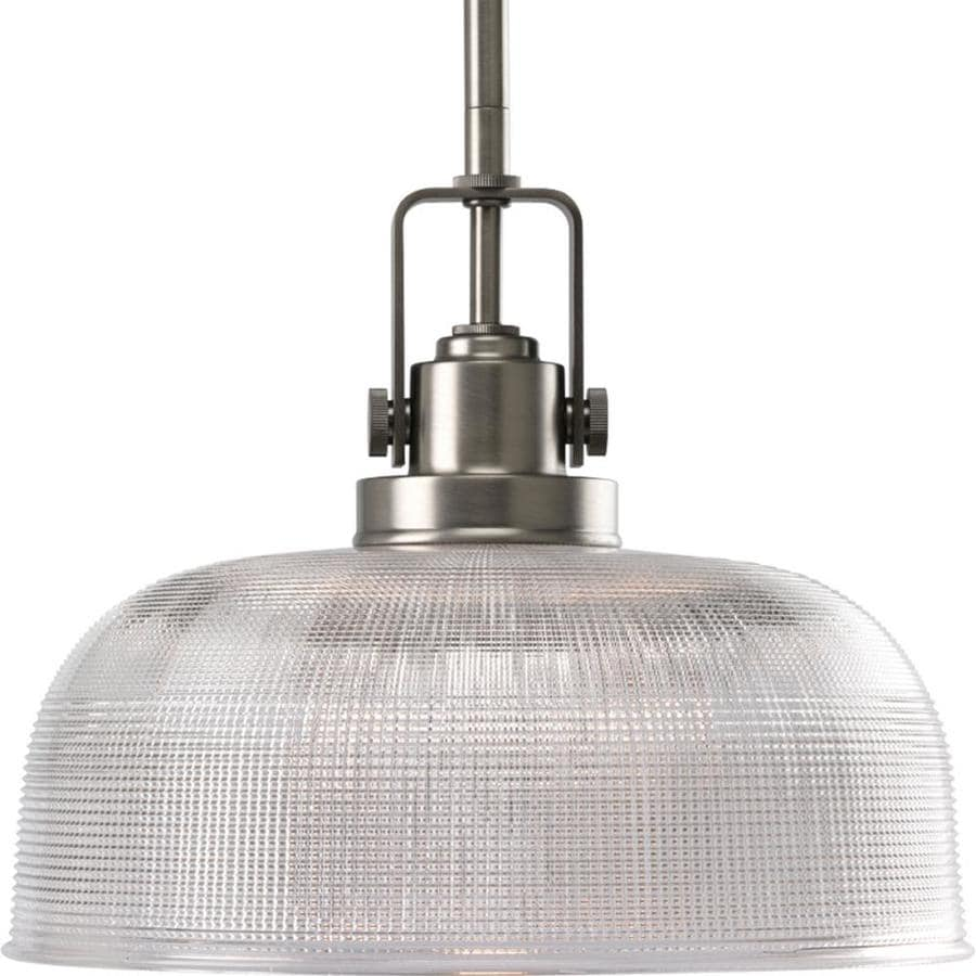 Progress Lighting Archie 10.5-in Antique Nickel Mini Clear Glass Dome Pendant