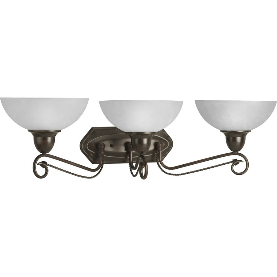 Progress Lighting Pavilion 3-Light 8.875-in Antique Bronze Bowl Vanity Light