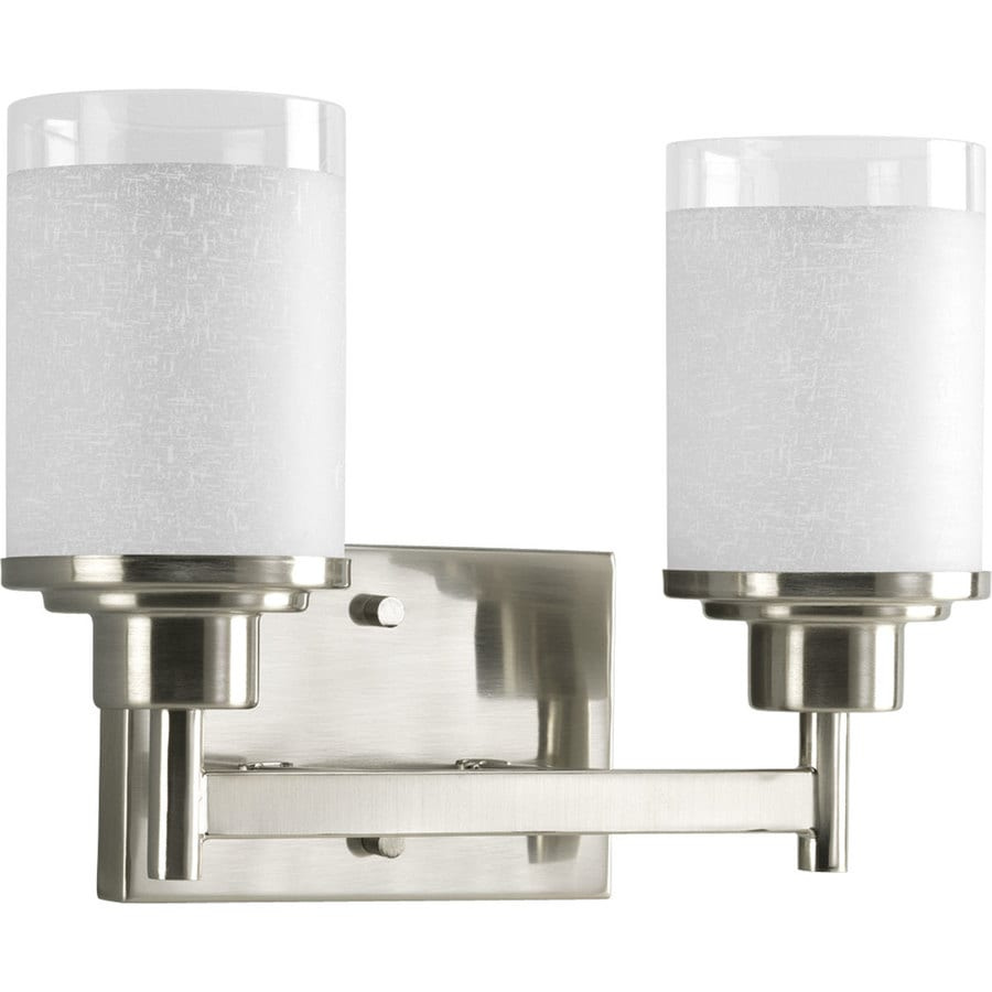 2 Light Vanity Light Brushed Nickel : Shop Progress Lighting Alexa 2-Light 9.375-in Brushed Nickel Cylinder Vanity Light at Lowes.com