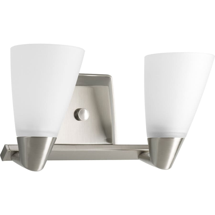 Vanity Lights In Brushed Nickel : Shop Progress Lighting Rizu 2-Light 7.25-in Brushed Nickel Cone Vanity Light at Lowes.com