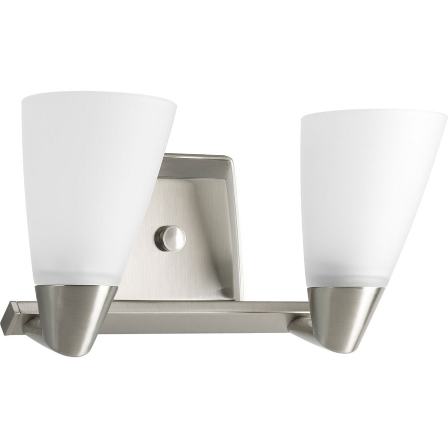 2 Light Vanity Light Brushed Nickel : Shop Progress Lighting Rizu 2-Light 7.25-in Brushed Nickel Cone Vanity Light at Lowes.com