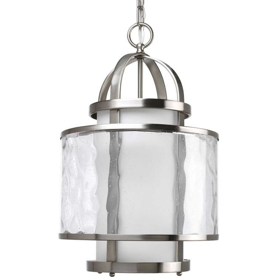 drum lighting lowes. progress lighting bay court 11.75-in 1-light brushed nickel clear glass drum chandelier lowes