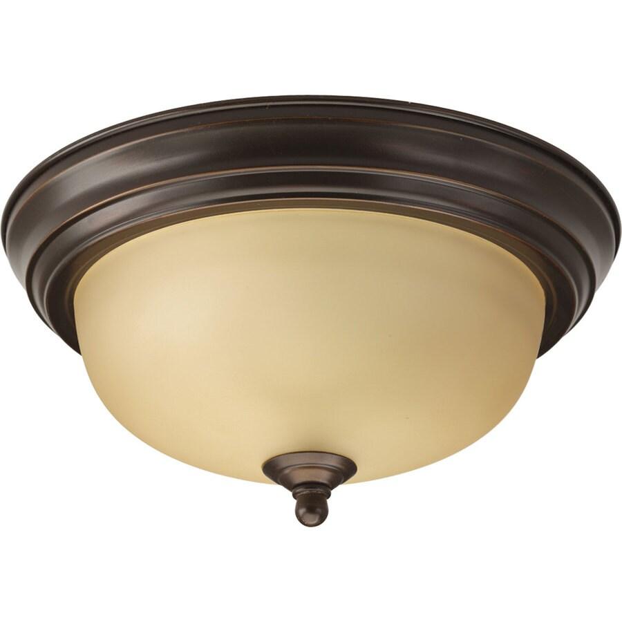 Progress Lighting Melon 11.375-in W Antique Bronze Standard Flush Mount Light