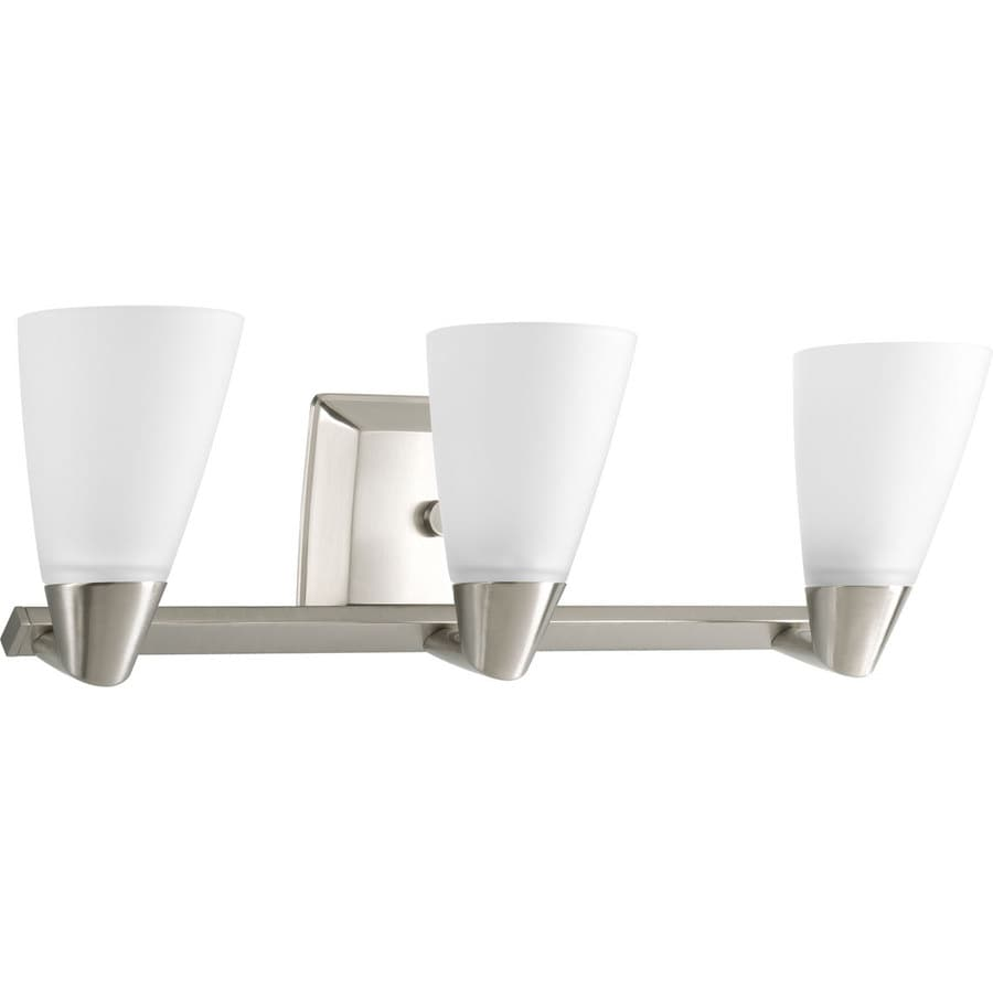 Progress Lighting Rizu 3-Light 7.25-in Brushed nickel Cone Vanity Light