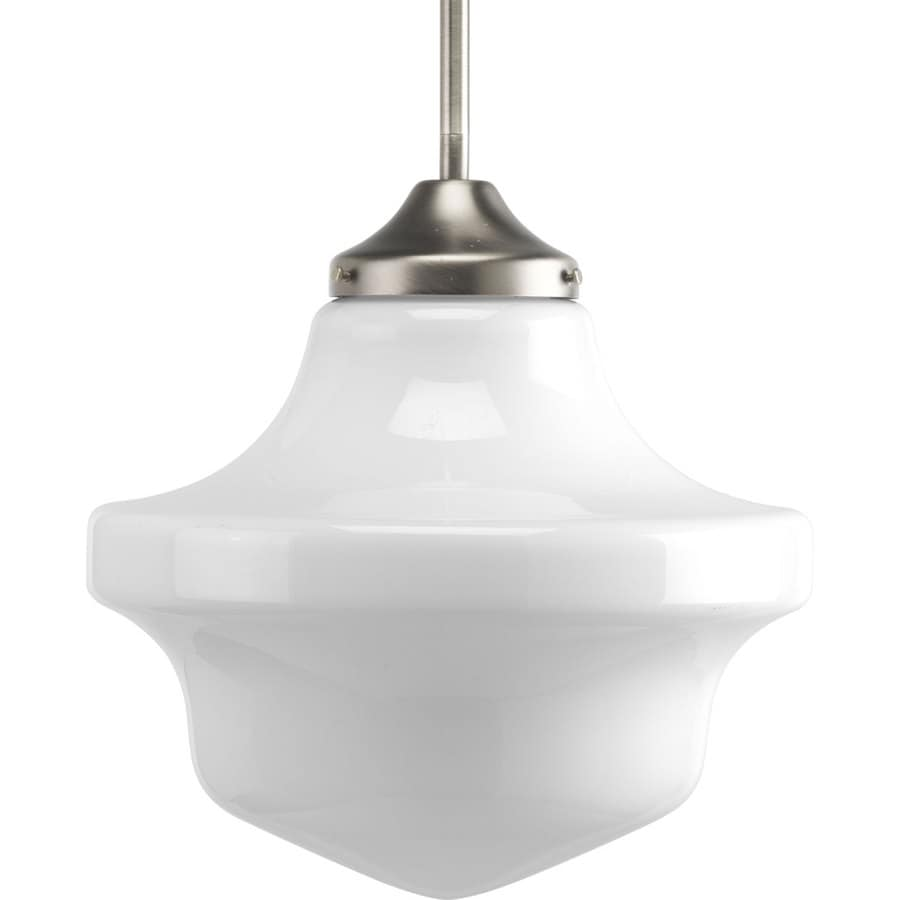 Progress Lighting Schoolhouse 12-in Brushed Nickel Single Tinted Glass Schoolhouse Pendant