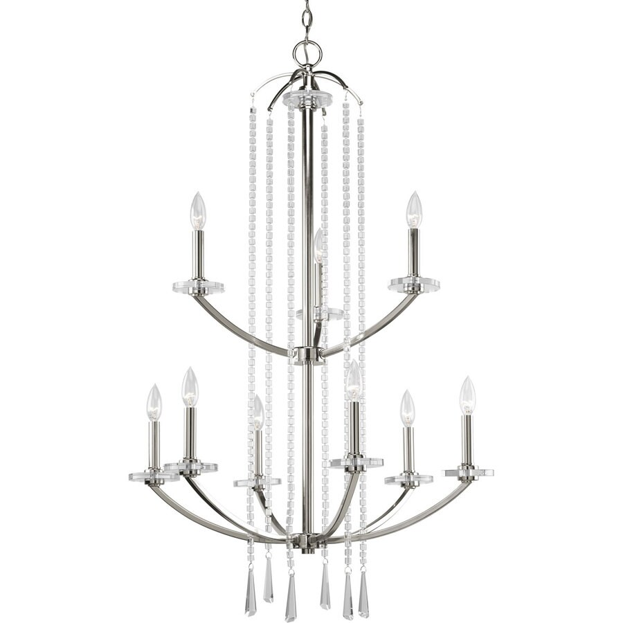 Progress Lighting Nisse 28-in 9-Light Polished Nickel Tiered Chandelier
