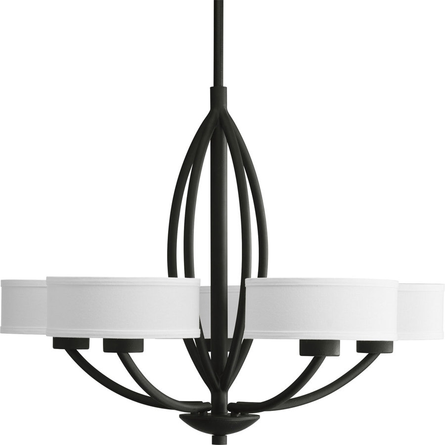 Progress Lighting Calven 30 In 5 Light Forged Black Shaded Chandelier