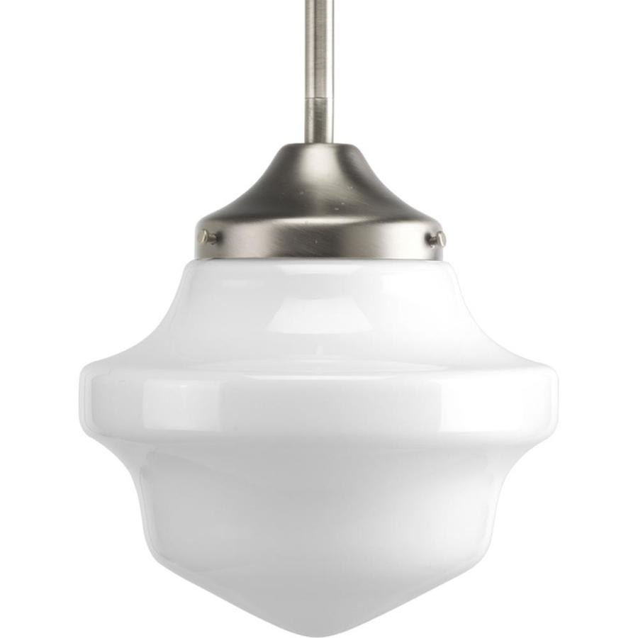 Progress Lighting Schoolhouse 8-in Brushed Nickel Mini Tinted Glass Schoolhouse Pendant
