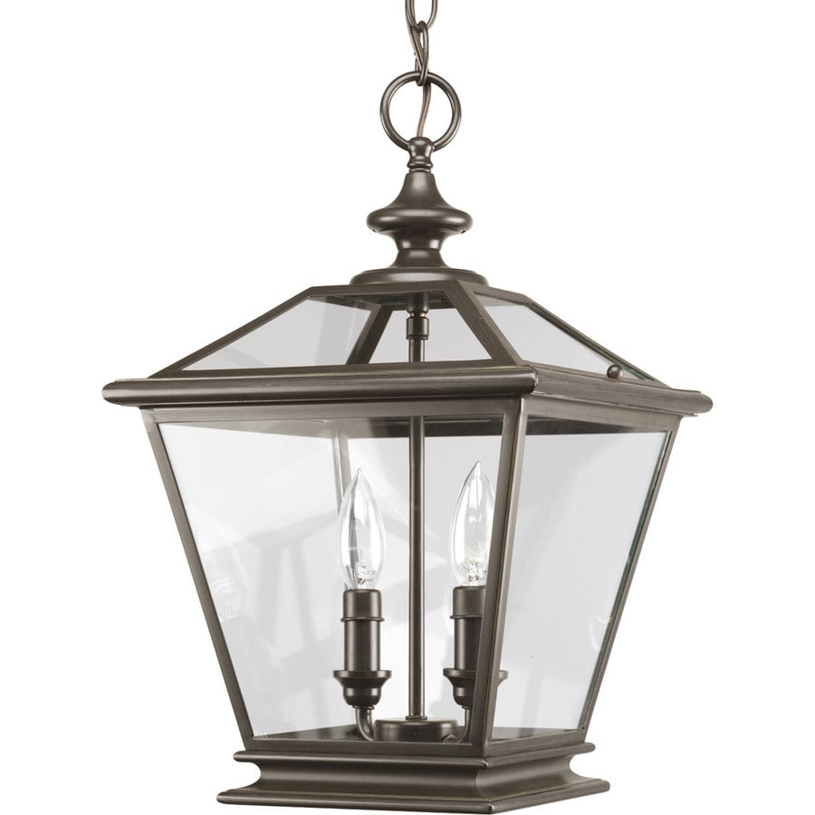 Progress Lighting Crestwood 10.875-in 2-Light Antique Bronze Clear Glass Cage Chandelier