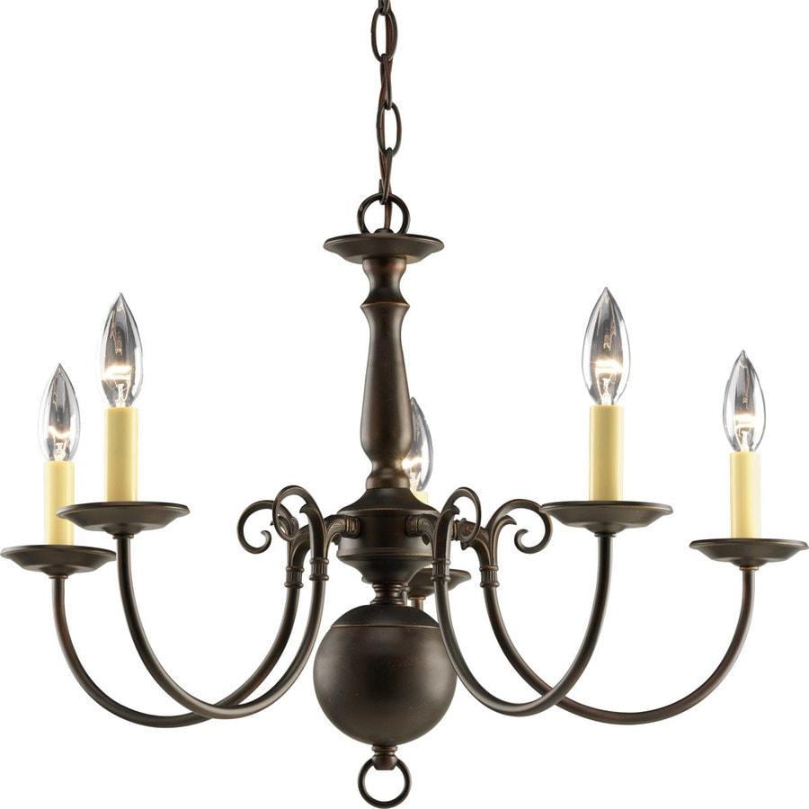 Progress Lighting Americana 23.5-in 5-Light Antique Bronze Candle Chandelier
