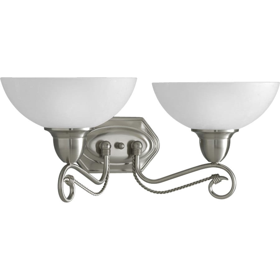 2 Light Vanity Light Brushed Nickel : Shop Progress Lighting Pavilion 2-Light 8.875-in Brushed Nickel Bowl Vanity Light at Lowes.com