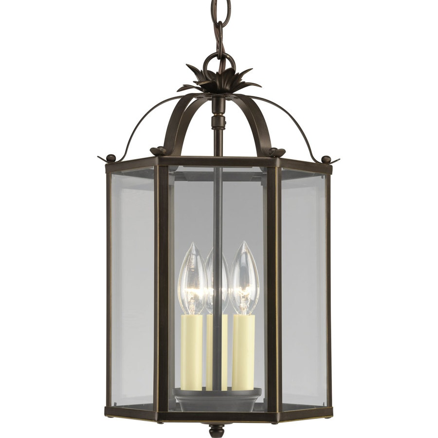 Progress Lighting 9-in W Antique Bronze Clear Glass Semi-Flush Mount Light