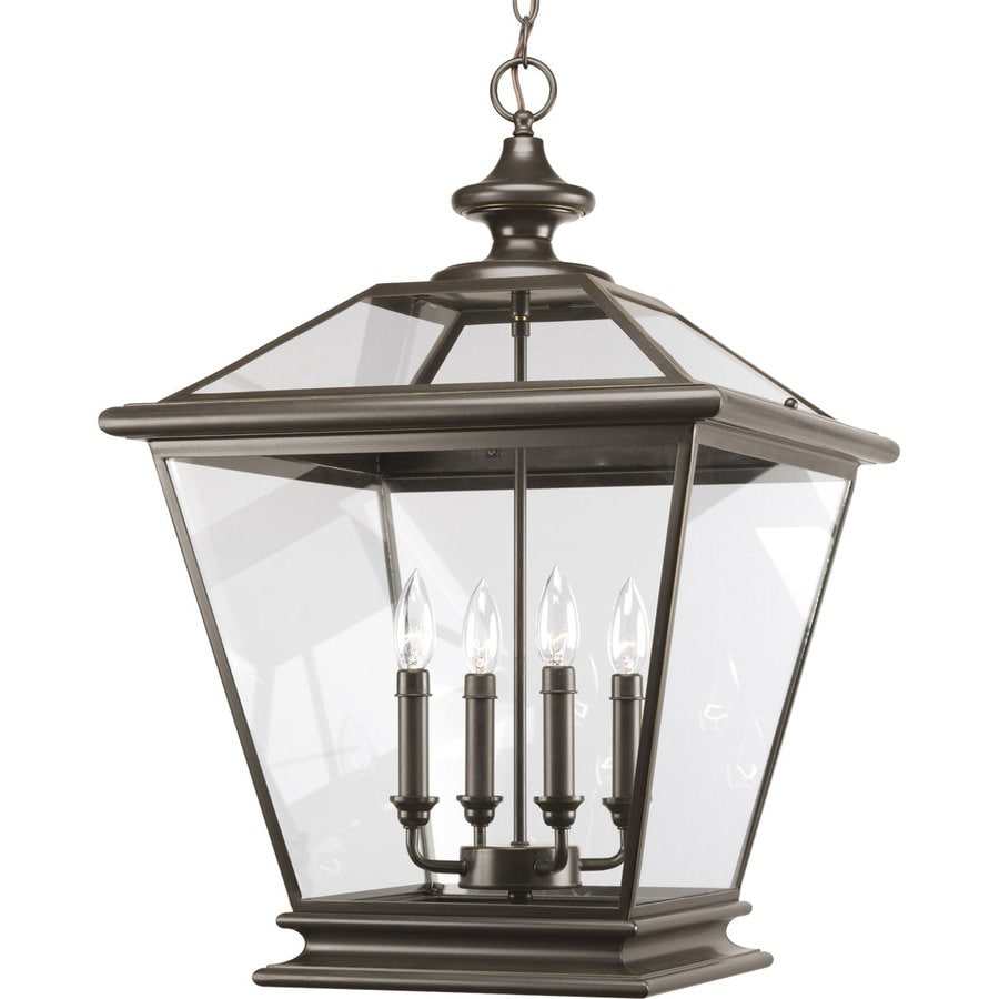 Progress Lighting Crestwood 18-in 4-Light Antique Bronze Tinted Glass Cage Chandelier