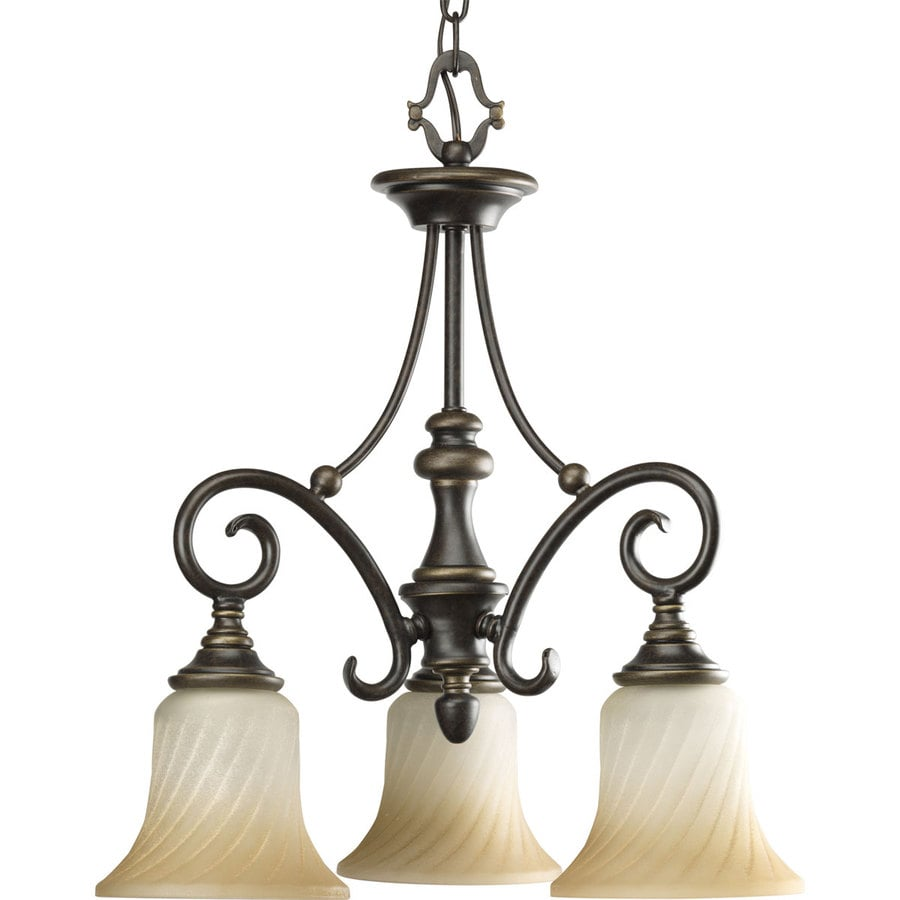 Progress Lighting Kensington 18-in 3-Light Forged Bronze Shaded Chandelier