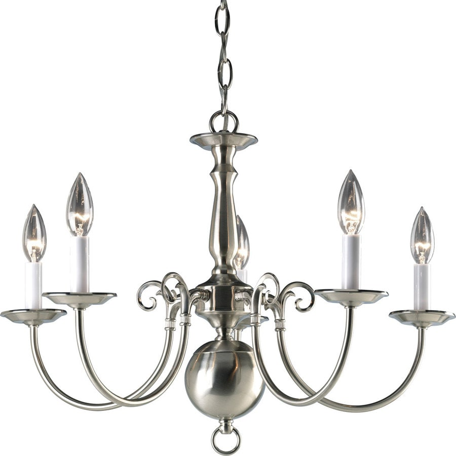 Progress Lighting Americana 23.5-in 5-Light Brushed Nickel Candle Chandelier