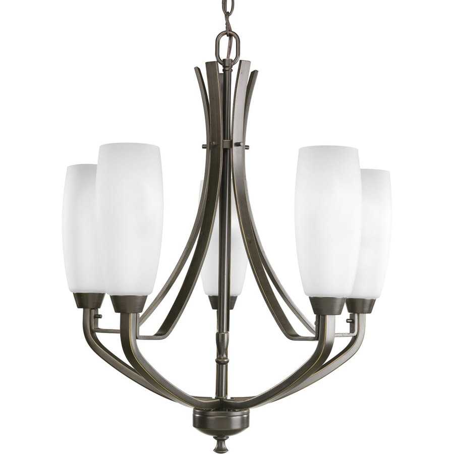 Progress Lighting Wisten 22-in 5-Light Antique Bronze Etched Glass Shaded Chandelier