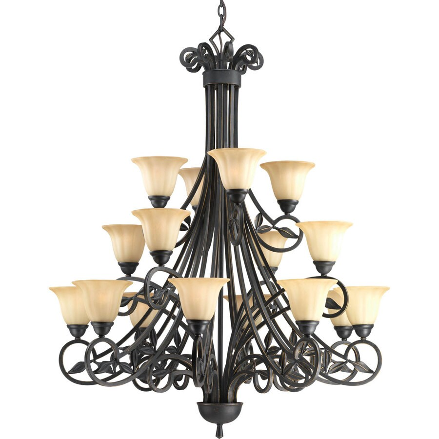 Progress Lighting Le Jardin 42-in 16-Light Espresso Textured Glass Tiered Chandelier