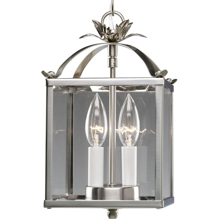 Progress Lighting 6.75-in W Brushed Nickel Clear Glass Semi-Flush Mount Light