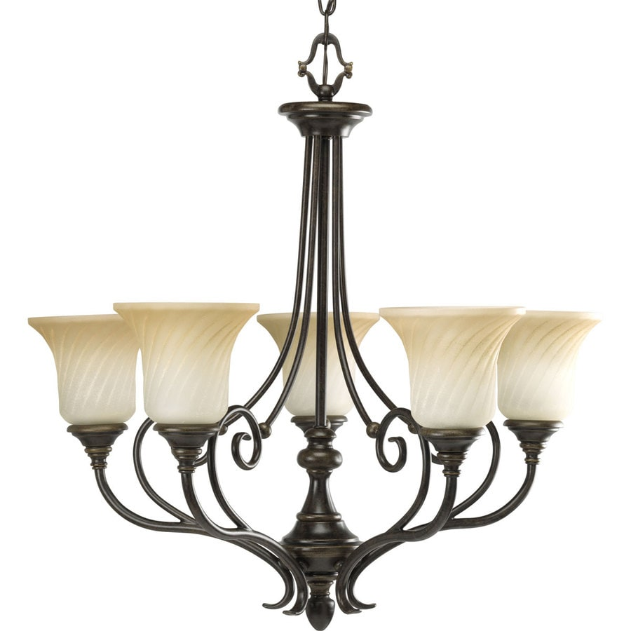 Progress Lighting Kensington 27-in 5-Light Forged Bronze Tinted Glass Shaded Chandelier