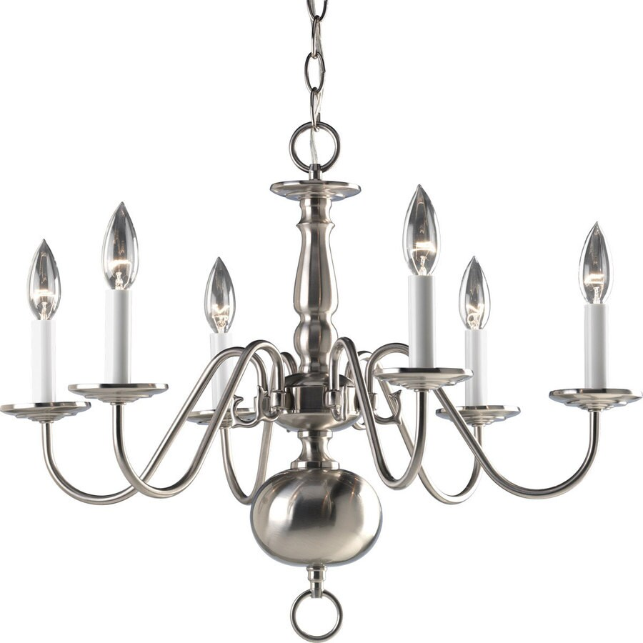 Progress Lighting Americana 25-in 6-Light Brushed Nickel Candle Chandelier