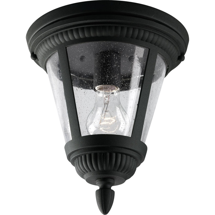Progress Lighting Westport 9-in W Black Outdoor Flush-Mount Light