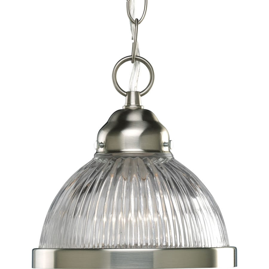Progress Lighting 6.75-in Brushed Nickel Mini Clear Glass Bell Pendant