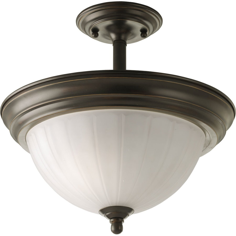 Progress Lighting 13.25-in W Antique Bronze Frosted Glass Semi-Flush Mount Light